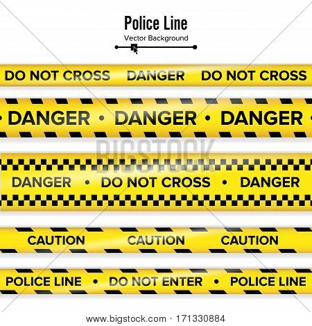 Yellow With Black Police Line. Do Not Cross, Danger, Caution. Danger Security Quarantine Tapes. Isolated On White Background. Vector