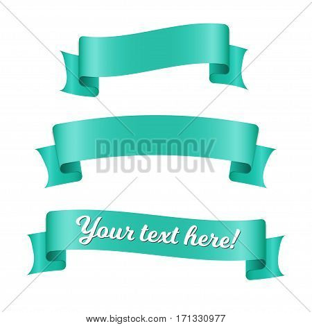 Cyan ribbon banners set. Beautiful blank for decoration graphic. Old vintage style design. Premium decorative elements isolated on white background.