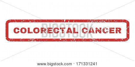 Colorectal Cancer text rubber seal stamp watermark. Tag inside rectangular shape with grunge design and unclean texture. Horizontal vector red ink sign on a white background.