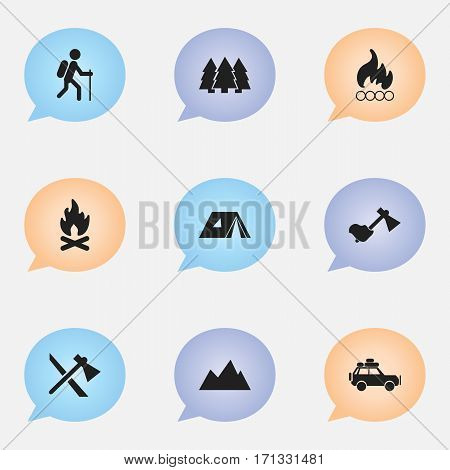 Set Of 9 Editable Trip Icons. Includes Symbols Such As Ax, Tomahawk, Gait And More. Can Be Used For Web, Mobile, UI And Infographic Design.