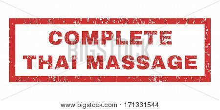 Complete Thai Massage text rubber seal stamp watermark. Tag inside rectangular shape with grunge design and unclean texture. Horizontal vector red ink emblem on a white background.