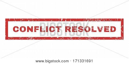 Conflict Resolved text rubber seal stamp watermark. Tag inside rectangular shape with grunge design and unclean texture. Horizontal vector red ink emblem on a white background.