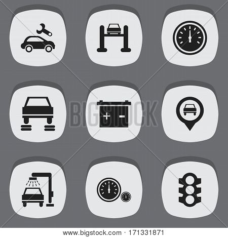 Set Of 9 Editable Vehicle Icons. Includes Symbols Such As Speed Control, Automotive Fix, Pointer And More. Can Be Used For Web, Mobile, UI And Infographic Design.