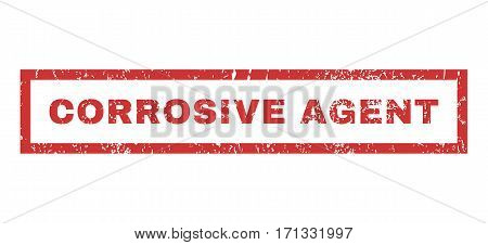 Corrosive Agent text rubber seal stamp watermark. Tag inside rectangular banner with grunge design and scratched texture. Horizontal vector red ink emblem on a white background.