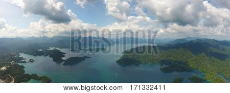 Aerial panorama view of Cheow Lan Lake, Khao Sok National Park in southern Thailand