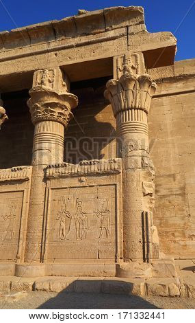 Remains and ruins of the ancient egyptian temple at dendera