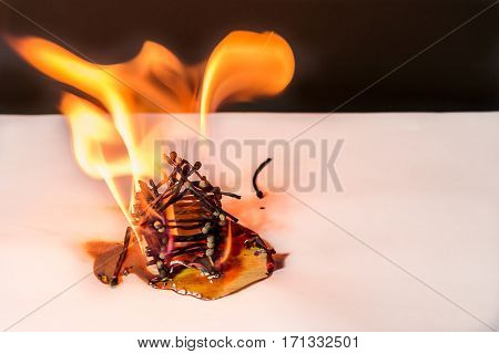 Burning matches house - dangerous games with fire ends with accident