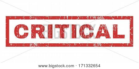 Critical text rubber seal stamp watermark. Caption inside rectangular shape with grunge design and unclean texture. Horizontal vector red ink sticker on a white background.