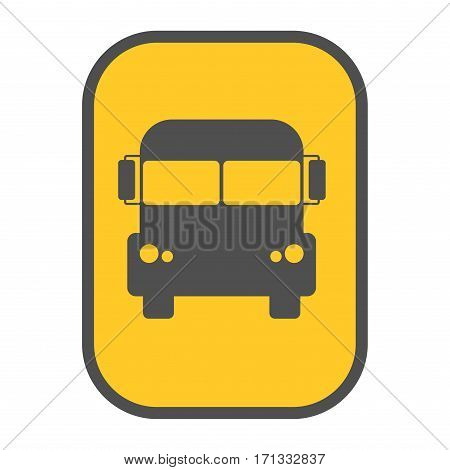 Bus vector icon yellow map pointer. Modern public simple school transport sign. Transportation stop navigation pictogram vehicle drive icon.