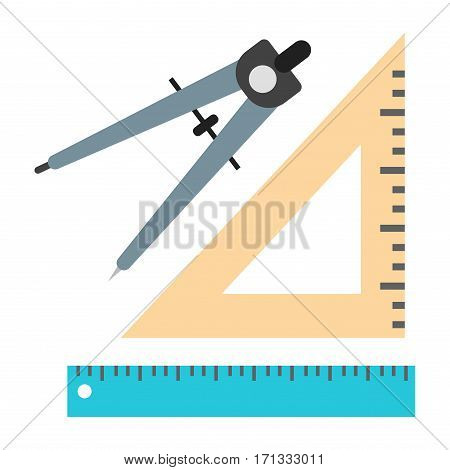 School divider office ruler measure instrument icon. Surveyor and geometry, engineer, architect symbol. Flat vector precision equipment illustration