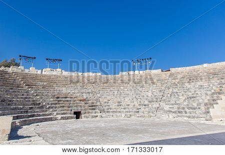 CYPRUS - 13 JUNE 2013: Amphitheater of an early Christian basilica in ancient town Kourion on Cyprus