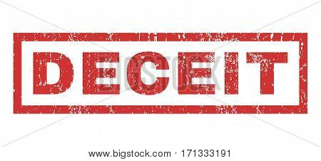 Deceit text rubber seal stamp watermark. Caption inside rectangular banner with grunge design and dust texture. Horizontal vector red ink emblem on a white background.