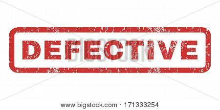 Defective text rubber seal stamp watermark. Tag inside rectangular banner with grunge design and dust texture. Horizontal vector red ink emblem on a white background.