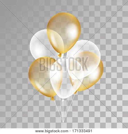 Gold transparent balloon on background. Frosted party balloons for event design. Balloons isolated in the air. Party decorations for birthday, anniversary, celebration. Shine transparent balloon.