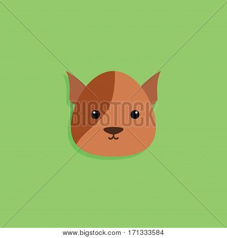 Abstract cartoon dog face on a green background