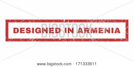 Designed In Armenia text rubber seal stamp watermark. Caption inside rectangular shape with grunge design and unclean texture. Horizontal vector red ink emblem on a white background.