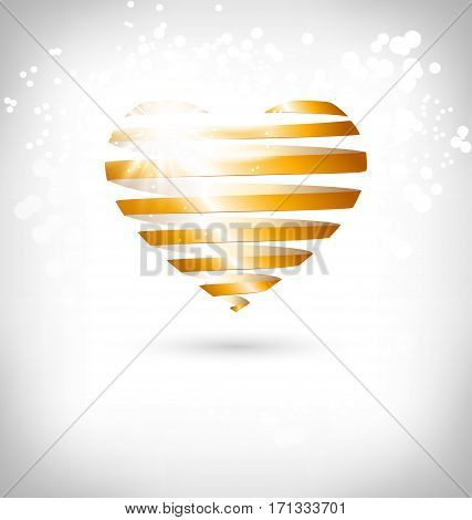 Golden Spiral heart with glow on grayscale background