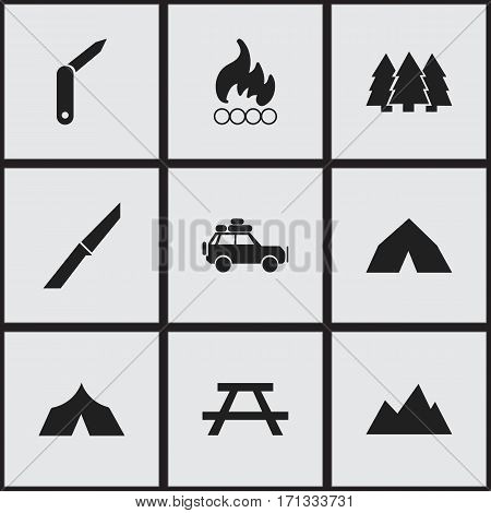 Set Of 9 Editable Trip Icons. Includes Symbols Such As Knife, Clasp-Knife, Peak And More. Can Be Used For Web, Mobile, UI And Infographic Design.