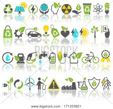 Eco Friendly Bio Green Energy Sources Icons Signs Set with Reflection Isolated on White Background