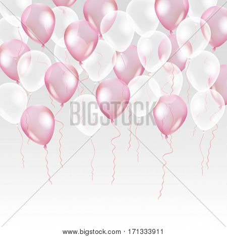 Pink transparent balloon on background. Frosted party balloons for event design. Balloons isolated in the air. Party decorations for birthday, anniversary, celebration. Shine transparent balloon.