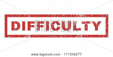 Difficulty text rubber seal stamp watermark. Caption inside rectangular shape with grunge design and dust texture. Horizontal vector red ink sticker on a white background.
