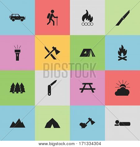 Set Of 16 Editable Camping Icons. Includes Symbols Such As Pine, Tepee, Ax And More. Can Be Used For Web, Mobile, UI And Infographic Design.