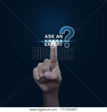 Hand pressing ask an expert with star and question mark sign icon over gradient blue background