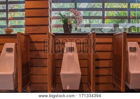 Modern men restroom with urinal row .