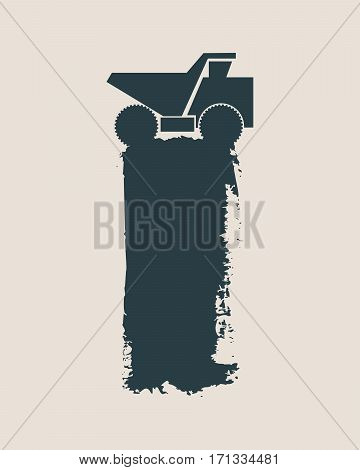 Haul or dump truck vector icon. Dumper or tipper symbol. Mining and construction machinery for transporting sand, gravel or dirt. Industrial lorry or tip truck sign. Grunge style vector illustration