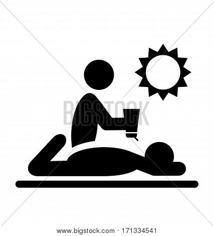 Summertime Pictograms Flat People with Sunscreen Cream Icons Isolated on White Background