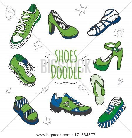 Boots color of the year 2017 doodle collection. Set of doodle shoes with sneakers loafers flip flops and sandals.Vector greenery illustration.