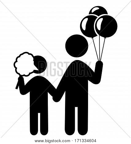 Entertainment Pictograms Flat Family Icon with Cotton candy and Balloons Isolated on White Background