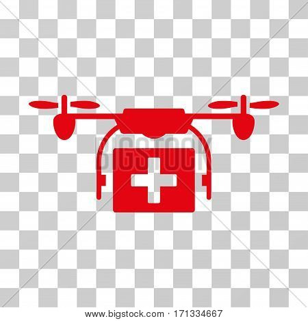 Ambulance Drone icon. Vector illustration style is flat iconic symbol red color transparent background. Designed for web and software interfaces.