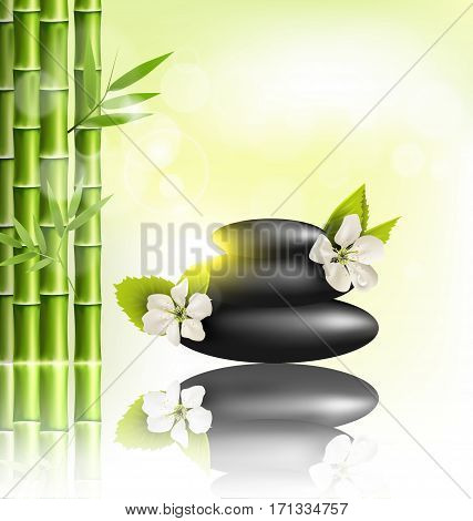 Stack of spa stones with cherry white flowers sunlight and bamboo with reflection on light-green background
