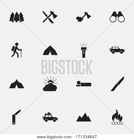 Set Of 16 Editable Trip Icons. Includes Symbols Such As Bedroll, Knife, Sport Vehicle And More. Can Be Used For Web, Mobile, UI And Infographic Design.