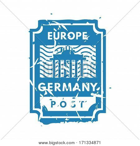 Vector vintage postage europe mail stamp. Retro delivery envelope grunge print. Postmark design correspondence sign. Antique communication template texture.
