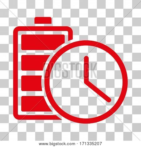 Battery Time icon. Vector illustration style is flat iconic symbol red color transparent background. Designed for web and software interfaces.