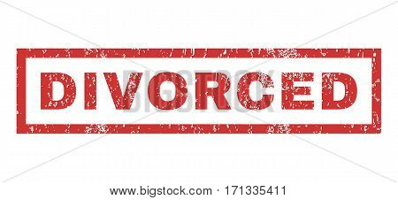 Divorced text rubber seal stamp watermark. Caption inside rectangular banner with grunge design and scratched texture. Horizontal vector red ink sign on a white background.