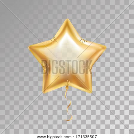 Gold star balloon on transparent background. Party balloons event design decoration. Balloons isolated air. Party decorations wedding, birthday, celebration, anniversary, award. Shine Golden balloon