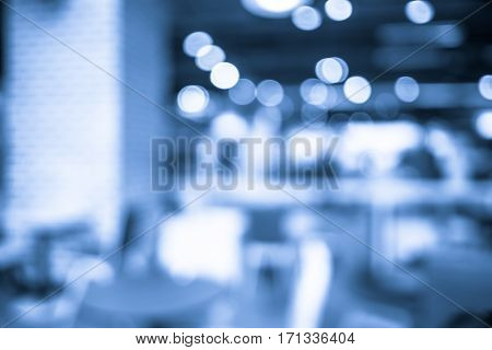 Blur Background, Coffee Shop With Blue Bokeh Filter