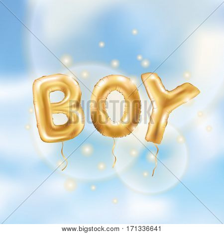 Gold letter boy balloons. Birthday gold characters balloons on blue. For celebration, party, date, invitation, event, card, happy Birthday. Shine glossy metallic balloons background. boy Baby shower