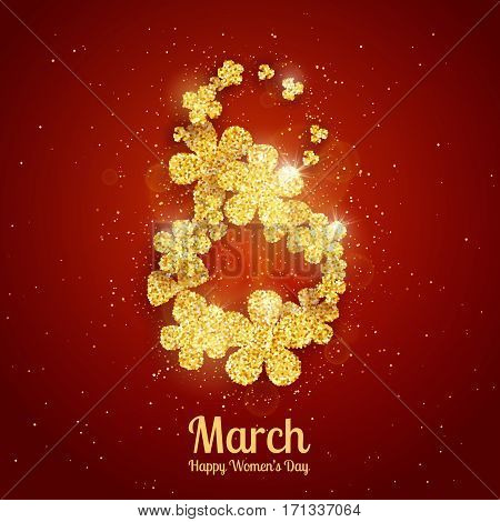 Vector Happy Women's Day greeting card with figure eight made with sparkling gold glitter flowers on red background. 8 march luxury background