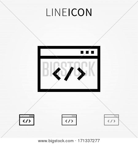 Code vector icon. Web coding line art pictogram. Website programming database optimization app computing creative concept.