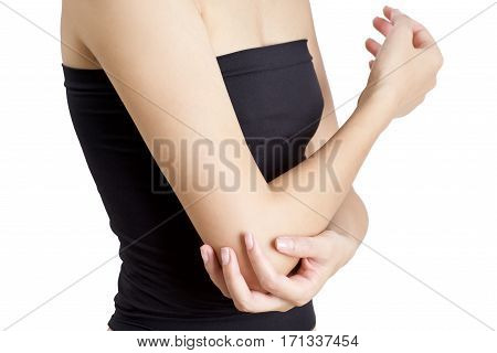 woman holding her elbow on pain area isolate on white background.