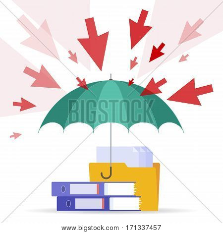 DDoS attack and safety digital technology concept. Vector flat illustration of cursors umbrella files and documents. Hackers attack shield protects data. Element for web brochure presentation.
