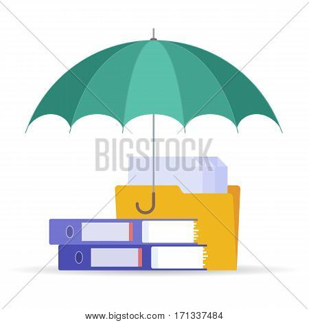 Protect and safety data digital technology concept. Vector flat illustration of umbrella files and documents. Design element for web webdesign publish presentation brochure social networks.