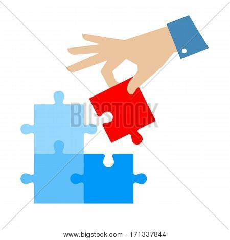 Problem solution concept flat illustration. Man's hand places last detail of puzzle in jigsaw. Vector puzzle infographic element template for web internet presentation booklet social networks.