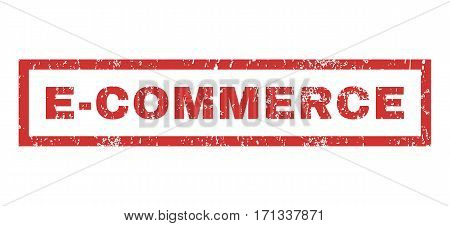 E-Commerce text rubber seal stamp watermark. Caption inside rectangular banner with grunge design and scratched texture. Horizontal vector red ink sign on a white background.