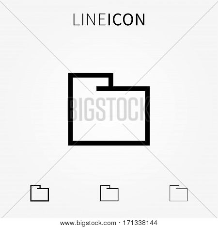 Folder vector icon. Empty folder line art pictogram. Outline file directory creative concept. Thin flat archive interface sign graphic design. Office document storage symbol.