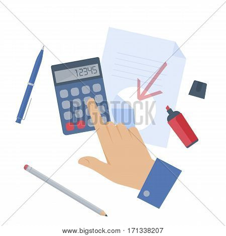 Businessman counting profit on the calculator. Flat isolated illustration of hand document graph calculator and office supplies on white background. Vector infographic element for web presentation